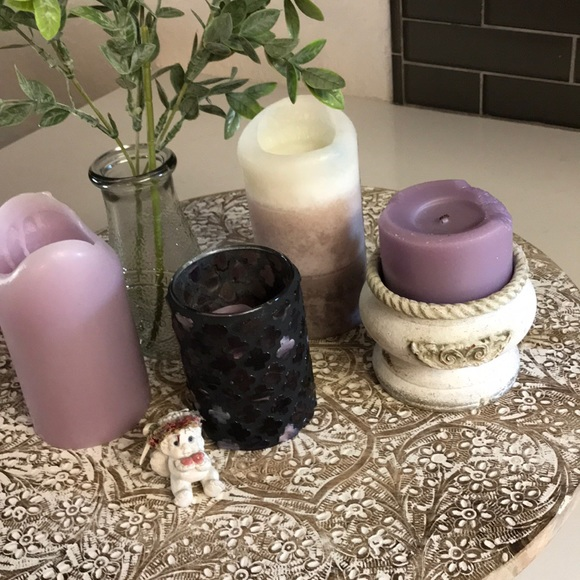 Candle bundle 6pc lavender cherub shabby chic